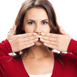 Young woman covering mouth, on white