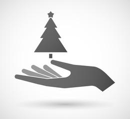 Hand giving a christmas tree