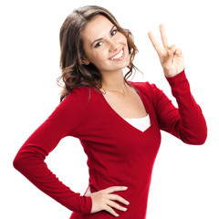 Woman showing two fingers or victory gesture, isolated