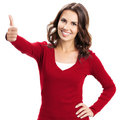 Woman showing thumbs up gesture, over white
