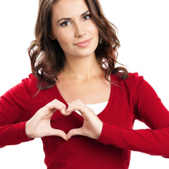 Woman showing heart symbol gesture, on white