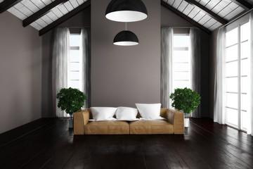 3D Dachgeschoss mit Sofa