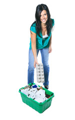 Young woman recycling wearing with green clothe