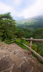 mountains and stairs.
