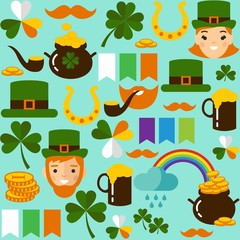 Seamless background with saint Patricks Day icons