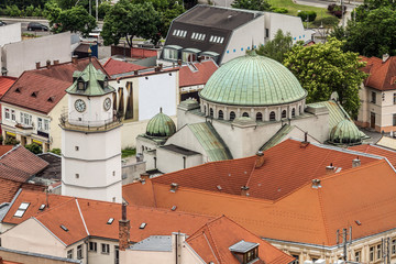 Red tiled roofs and the cathedral city of Trencin in Slovakia