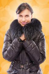 Beautiful girl in warm coat