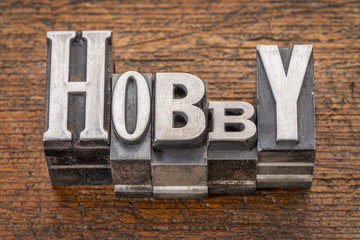 hobby word in metal type