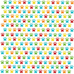 The pattern of colored cat footprints
