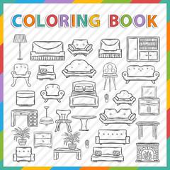 Vector coloring book.Home interior