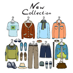 Vector illustration with men's clothes from the new collection