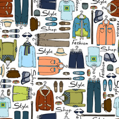 Vector pattern with hand drawn and fashionable men's wear