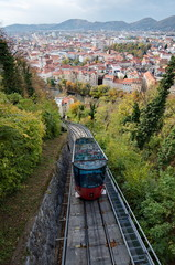 Red funicular in Graz, Austria