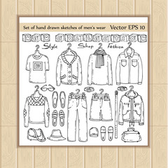 Vector set of hand drawn and isolated sketches of men's wear