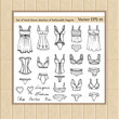 Vector set of hand drawn sketches of fashionable lingerie - 77636139