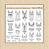 Vector set of hand drawn sketches of fashionable lingerie
