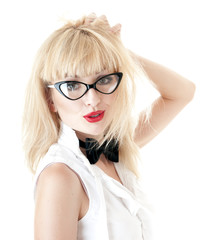 Portrait of  young businesswoman wearing glasses on white backgr