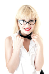 Smiling sexy blonde business women wearing glasses over white ba