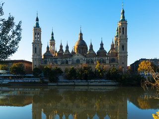 Front view of Cathedral of Our Lady of the Pillar. Zaragoza