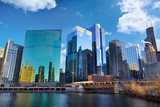 Chicago Loop skyline and Chicago River, IL, United States poster