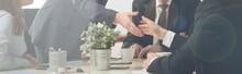 """Постер, картина, фотообои """"Handshake on a business meeting"""""""