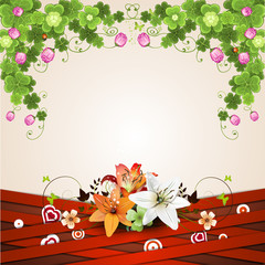Background with red strips and lilies