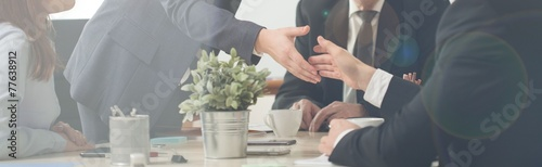 Spoed canvasdoek 2cm dik Panoramafoto s Handshake on a business meeting