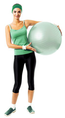 Cheerful smiling woman with fitball, isolated