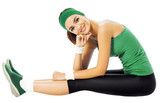 Cheerful smiling woman exercising, isolated