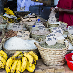 Traditional food market in Zanzibar, Africa.