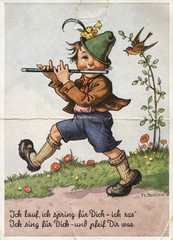 Retro postcard printed in Germany shows boy playing the flute.