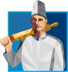 Chef Cook Rolling Pin Low Polygon