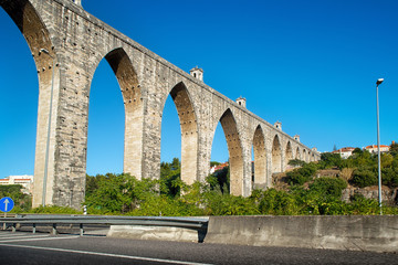 historic aqueduct in the city of Lisbon built in 18th century, P