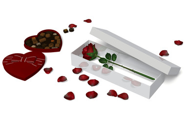 Red Rose in a box and chocolate.