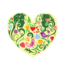Valentines patterned heart with couple
