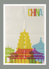 Travel China landmarks skyline vintage poster