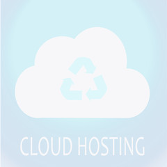 reycle icon in the cloud and white  text over blue color backgro