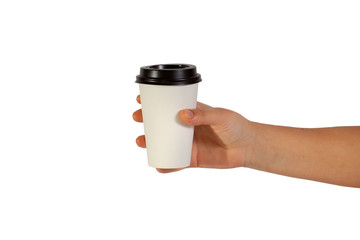 disposable cup of coffee in hand
