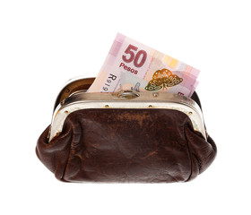 Fifty pesos in  purse