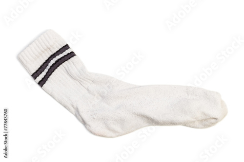 Closeup of one clean white tennis/sport sock isolated on white - 77643760