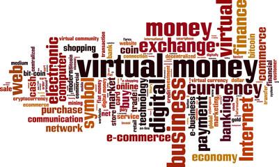 Virtual money word cloud concept. Vector illustration