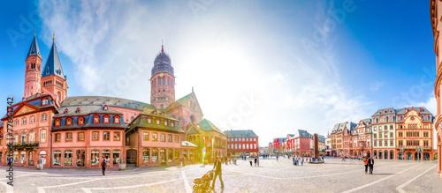 Staande foto Centraal Europa Mainzer Dom und Domplatz Panorama