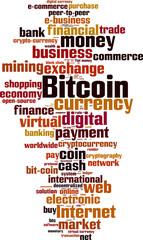 Bitcoin word cloud concept. Vector illustration