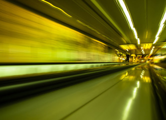 Long exposure shot in a moving walkway
