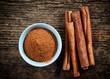 canvas print picture - cinnamon powder and sticks