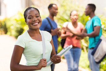 female african american university student on campus