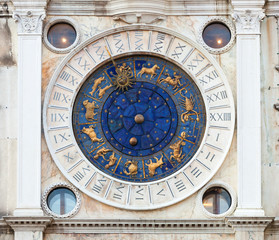 Zodiac Clock in Saint Marks Square, Venice.