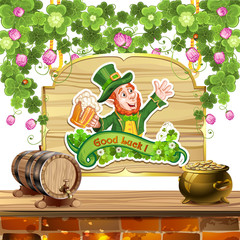 Happy Leprechaun Drinking Beer-St. Patrick's Day