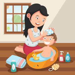 Mother washing her child 's hair with love illustration