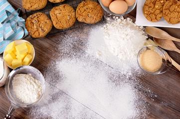Baking cookies with ingredients